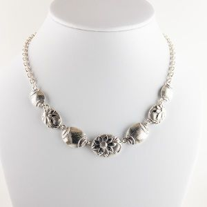 Silver Tone Floral Textured Link Necklace